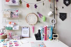 Craft room organisation with pegboard