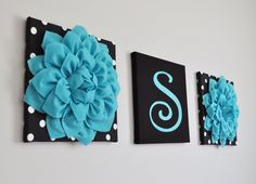 Modern Turquoise Nursery Decor Dahlia Polka Dot Wall Art