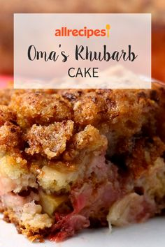 Rhubarb is baked into a streusel-topped coffee cake. Oma always makes this for her grand kids after she picks through her garden. Rhubarb Coffee Cakes, Rhubarb Desserts, Rhubarb Cake, Just Desserts, Healthy Rhubarb Recipes, Baking Recipes, Cake Recipes, Dessert Recipes, My Recipes