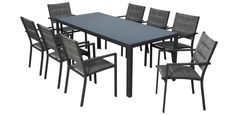 Connect 9 piece aluminium dining setting