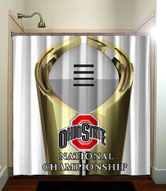 Ohio state buckeye home decor Ohio State University, Ohio State Buckeyes, Fabric Shower Curtains, Bathroom Shower Curtains, National Championship, Nfl Football, Bathing, Environment, Range