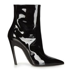 Balenciaga Slant-heel patent leather boots ($855) ❤ liked on Polyvore featuring shoes, boots, scarpe, black, pointed toe shoes, black shoes, black patent shoes, shiny black shoes and balenciaga boots
