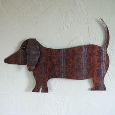 Animal art decor - Dachshund - Handmade upcycled metal Art doxy weiner dog  11 x 16  https://www.etsy.com/listing/83299069/animal-art-decor-dachshund-handmade?ref=market