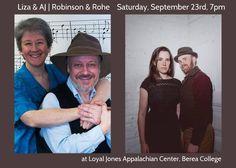 September 23, Loyal Jones Center, Berea College, 7:30, not 7!!!