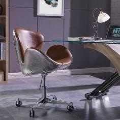 Duval Pu Swivel Office Chair Aluminum Frame Distressed Caramel