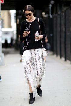 Amazing floral skirt. #NYFW