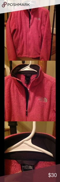 North Face Womens PINK Fuzzy Plush small Jacket North Face Women's long sleeve fleece jacket,   The more plush fuzzy style, small. Pink (Slightly lighter shade than pics show. Closer to a regular pink shade rather than a hot pink as pics appear) with NF logo on both sides .  I have added additional pics from a different camera, trying to obtain a more accurate pic of the actual color of pink. No rips, stains.   Comes from a smoke free home Fast shipping provided! Thank you for viewing My…