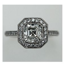 Estate Replica Art Deco Platinum Asscher Cut Diamond Engagement Ring 1.58 Carats Circa 2000