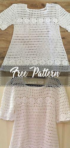 Summer Top - Free Pattern Go to the free pattern Here Crochet Tunic Pattern, Crochet Shirt, Crochet Jacket, Crochet Cardigan, Cute Crochet, Beautiful Crochet, Easy Crochet, Crochet Sweaters, Crochet Summer Tops