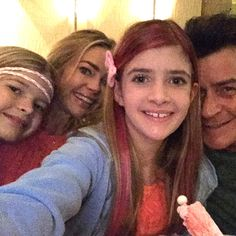 No family drama here… for a night, at least. Charlie Sheen and Denise Richards looked like amicable exes on Monday, dining out for their oldest daughter Sam's birthday. Celebrity Selfies, Celebrity Babies, Celebrity Couples, Jessica Lowndes, Denise Richards Charlie Sheen, Sheen Family, Barton G, Liev Schreiber, Daughter Birthday