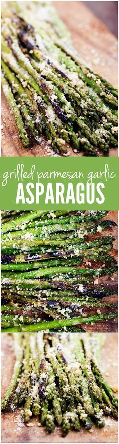 This Grilled Parmesan Garlic Asparagus is the BEST side! The smoky charred edges add so much delicious flavor to this tender asparagus! - Grilled Asparagus Recipe (w/ Parmesan & Garlic) Veggie Recipes, Cooking Recipes, Healthy Recipes, Vegetarian Grill Recipes, Recipes For The Grill, Summer Grill Recipes, Sausage Recipes, Quick Recipes, Japanese Diet