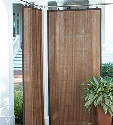 Create Shade And Privacy Outdoors With These Water Resistant Outdoor Bamboo  Curtain Panels Just Thought, This Could Be Done Using Outdoor Rugs Using  Curtain ...