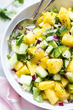 An explosion of flavors and vitamins awaits you in this summery pineapple cucumber jalapeño salad. : An explosion of flavors and vitamins awaits you in this summery pineapple cucumber jalapeño salad. Pinapple Salad, Cucumber Salad, Best Nutrition Food, Health And Nutrition, Child Nutrition, Nutrition Data, Health Diet, Beef Nutrition, Nutrition Products