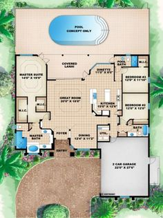 Florida Style House Plans - 2369 Square Foot Home , 1 Story, 3 Bedroom and 2 Bath, 2 Garage Stalls by Monster House Plans - Plan Florida House Plans, Pool House Plans, Garage House Plans, House Plans One Story, Family House Plans, Craftsman House Plans, Best House Plans, Dream House Plans, Small House Plans