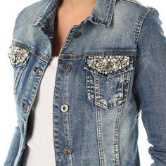 FASHION-Damen-Jeans-Jacke-Jeansjacke-Perlen-Nieten-bestickte-Taschen-DENIM-blau