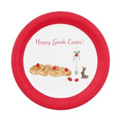 Watercolor Happy Greek Easter Bread With Bunny Paper Plate - happy easter egg holiday family diy custom personalize Greek Easter Bread, Bunny Bread, Orthodox Easter, Chocolate Bunny, Cake Servings, Easter Party, Paper Plates, Happy Easter, Easter Eggs