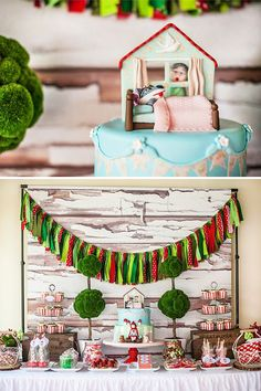 – Fabulous rag-tie bunting adding a nice burst of color color to the rustic, faux-wood backdrop