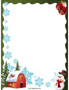 House Snowflakes and Snowman Christmas Border