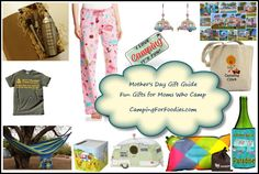Fun And Unique Mother's Day Gift Idea Guide For Camping Moms. From pajamas to cocktail shakers to bird houses to earrings. Mom will love these!