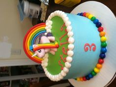 This is my sweet baby girl's 3rd birthday cake. All we told Julie was that she wanted Rainbow/Unicorn cake and she created this fabulous work of art!  Pls look up Cakes by Julie Brizzee on Facebook!