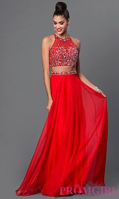 Two Piece Jewel Embellished Long Dress at PromGirl.com