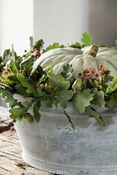 White pumpkin and greenery in a bowl! simple fall decor, Thanksgiving, Harvest Autumn Parties - Wedding too! Imagine this on each table at a Fall wedding! Deco Floral, Arte Floral, White Pumpkins, Fall Pumpkins, Fall Home Decor, Autumn Home, Thanksgiving Decorations, Seasonal Decor, Pumpkin Decorations