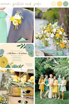 Find wedding color inspiration like this charming blend of marigold yellows and jade for stylish and trendy summer weddings.