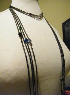 bronze necklace with Swarovski by dodimatto on Etsy