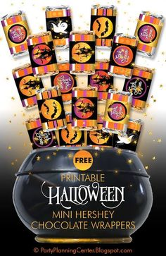 FREE Printable Halloween Chocolate Bar Wrappers | These cute and easy-to-use mini chocolate bar wrappers fit any one of the mini Hershey candy bars | Great for Halloween parties, especially when used with the matching FREE Hershey Kisses labels, invitation, wineglass lampshade and banner printables.  #HalloweenParty #HalloweenCandy #MiniHersheyWrappers #HalloweenPrintables #FREEPrintables #CarlaChadwick Fun Halloween Games, Halloween Popcorn, Halloween Parties, Diy Halloween Decorations, Mini Hershey Bars, Hershey Kisses, Custom Chocolate, Hershey Chocolate, Holiday Crafts