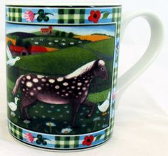 Horse Mug Exclusive Funny & Cute Horse Farm Scene Porcelain Mug Hand Made in UK #RainbowDecorsLtd #ArtDeco