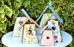 Fabric birdhouses pillarboxblue.com