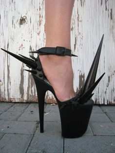 a spiked high helled stripper shoe