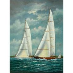 Nautical Ketches in Sea Wind Ships Oil Painting for sale on overArts.com