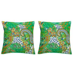 Paisley Pattern Design with Leafy work Cushion Cover Set