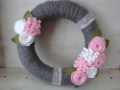 READY TO SHIP Pink and Heather Grey Yarn Wreath by LollieBlossom, $30.00