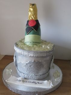 Champagne Bottle and ice bucket cake Ice Bucket Cake, Novelty Cakes, Champagne, Bottle, Birthday, Desserts, Food, Deserts, Flask