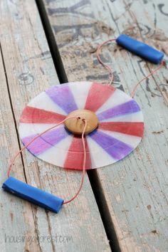 button spinner  button, plastic jug, sharpies, string, craft foam