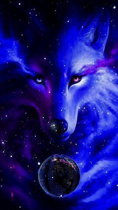 Animal Wallpaper And iphone Fantasy Wolf, Dark Fantasy Art, Wolf Wallpaper, Animal Wallpaper, Cute Animal Drawings, Cute Drawings, Anime Animals, Cute Animals, Anime Wolf Drawing