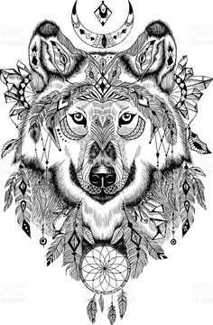 Detailed Wolf in aztec-boho style. May be used as a print, a tatto… – stephanie loup Detailed Wolf in aztec-boho style. May be used as a print, a tatto… Des loup dans un style aztec stock vecteur libres de droits libre de droits Wolf Tattoos, Animal Tattoos, Body Art Tattoos, Wolf Tattoo Design, Tattoo Designs, Tattoo Ideas, Totem Tattoo, Wolf Totem, Tattoo Zeichnungen