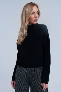 Black ribbed crop sweater