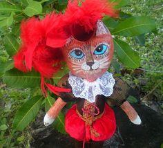 Handmade OOAK Puss in Boots Cat Cloth Doll a new one by irinaalek, $35.00