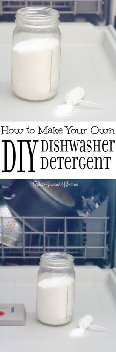 Vegan Ideas for Your Cruelty Free Home. Homemade Dishwasher Detergent - an easy DIY cleaning product. Super easy to make and works great! It's the only dish detergent I use! Homemade Cleaning Products, Cleaning Recipes, Natural Cleaning Products, Cleaning Hacks, Cleaning Supplies, Household Products, Household Tips, Diy Vanity, Diy Cleaners