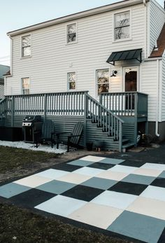 Outdoor Painted Cement Patio Makeover - Nesting With Grace Painted Cement Patio, Painted Rug, Concrete Patio, Back Patio, Backyard Patio, Diy Patio, Yard Landscaping, Cottage Living, Coastal Cottage