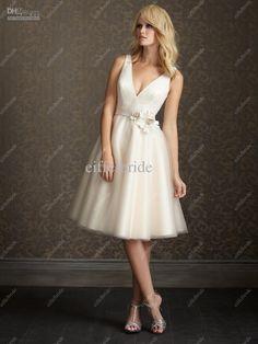 Vestido de boda ocasional de la playa al por mayor 2012 simple V-cuello de tul blanco informales vestidos de novia cortos, $ 81.76-85.12/Piece | DHgate