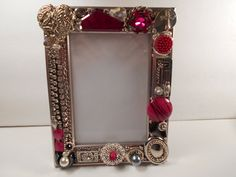 Jeweled Frame for 3 x 5 Photo, Handmade Silver & Fuchsia Frame, OOAK Jeweled Frame, Chaos to Christ Frame by ChaostoChrist on Etsy