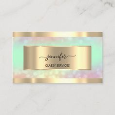 Gold Holograph Nail Salon Mint Hairdresser OMBRÉ Business Card Salon Business Cards, Cleaning Business Cards, Modern Tools, Paper Goods, Hairdresser, Special Day, Salons, Things To Come, Mint