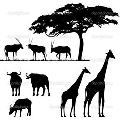 Find African Animals Vector Silhouettes stock images in HD and millions of other royalty-free stock photos, illustrations and vectors in the Shutterstock collection. Animal Silhouette, Silhouette Vector, Silhouette Curio, African Art Projects, Tree Outline, African Tree, Tree Images, Black Animals, Safari Animals