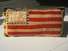 A flag pillow sewn my hand! #patriotic crafts