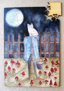Cool nursery decor idea: Frame a wooden puzzle made from beautiful original art like this one from Radish Moon.