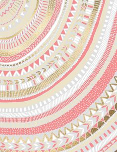 Coral + Gold Tribal Canvas Print